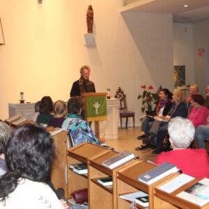 Sisterhood of St John the Divine Philip Newell speaking to a full chapel